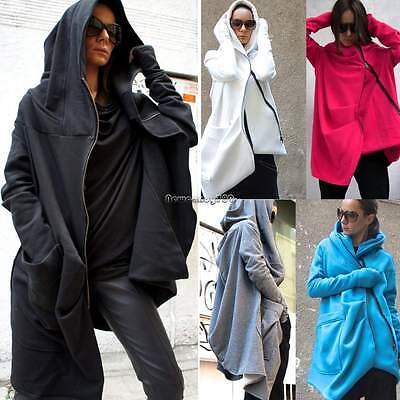New Womens Long Sleeve Zipper Irregular Hoodie Coat Tracksuits Jacket Sweatshirt