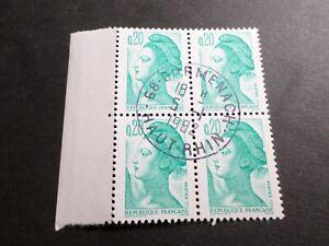 FRANCE BLOC timbres 2181 LIBERTE' DELACROIX, oblitéré 1982 cachet rond, QUARTINA