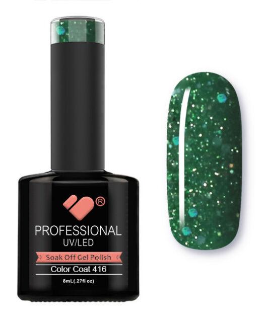 416 VB Line Dark Green Glitter - gel nail polish - super sale!