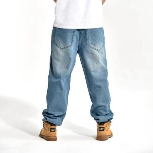 New Mens Jeans Denim Casual Pants Trousers Loose Hip-Hop Light Blue W30-W46 #022