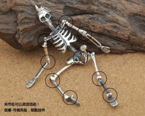925 Sterling Silver Skull Mobile Squelette Motard Gothique Pendentif Charm Tag S2793