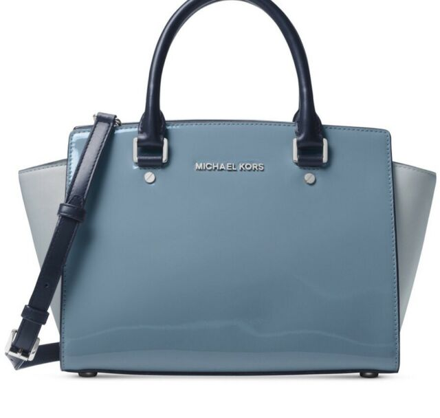 New Michael Kors Selma Saffiano Leather Colorblock Glossy Patent Bag