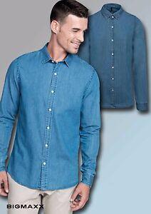 Kariban-Uomo-chambrayhemd-Denim-tessuto-jeans-camicia-colore-Blu-tg-S-fino