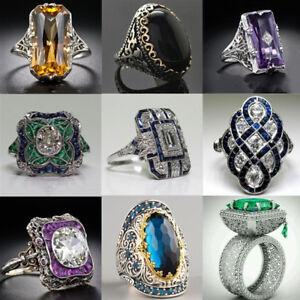 925-Silver-Crystal-Topaz-Gemstone-Women-Wedding-Engagement-Ring-Jewelry-Sz-5-10