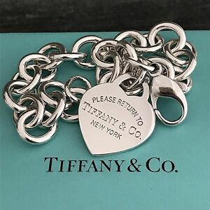a0f62f59db1e7 Details about Please Return to Tiffany & Co Sterling Silver Heart Tag Charm  Bracelet