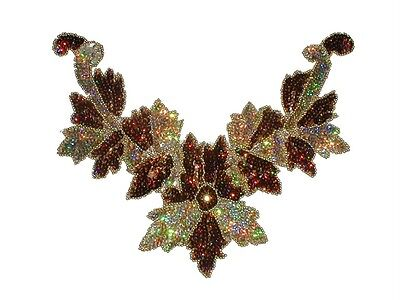 Sequin Bead Applique Belly Dance Motif Necklace Copper