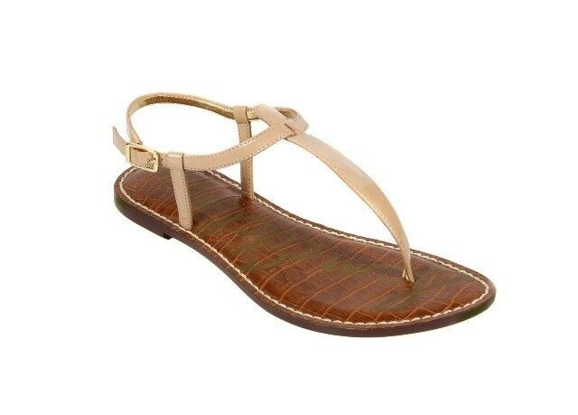 42fc168de Sam Edelman Gigi Sandals Size 9 Almond Patent Thong Flat for sale online