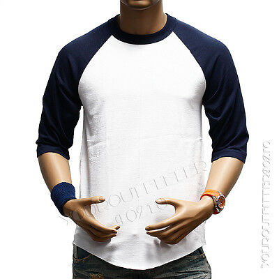 3/4 Sleeve  Plain T-Shirts Lot Baseball Tee Raglan Jersey Sports Men's Tee S-3X
