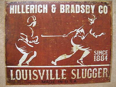 Louisville Slugger Bat Tin Metal Sign Baseball Sports Vintage Look Logo 1884 NEW