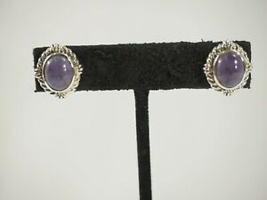 Vintage-Charoite-Cabochon-Earrings-Sterling-Silver-Postbacks