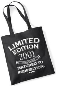 16th Geburtstagsgeschenk Tragetasche Einkaufstasche Limitierte Edition 2001