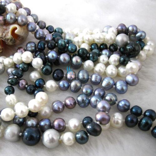 """76/"""" 5-11 mm multi couleur d/'eau douce collier de perles blanc gris noir bijoux"""