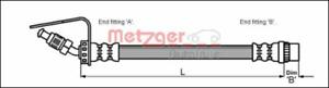 Bremsschlauch für Bremsanlage Vorderachse METZGER 4114761