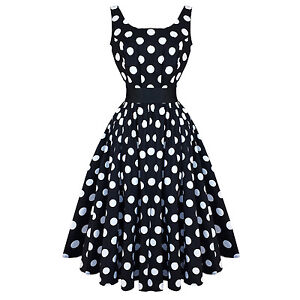 Hearts-and-Roses-London-Black-White-Polka-Dot-Vintage-50s-Party-Prom-Dress