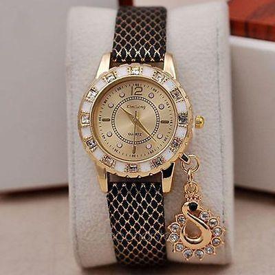 Women Handmade Crystal Charm Pendant PU Leather Wrap Bracelet Quartz Wrist Watch