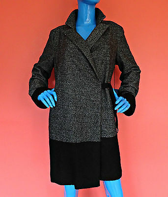 Simply Vera Wang Boucle Wool Blend Dress Coat L 12 14 16 Tweed Slimming New