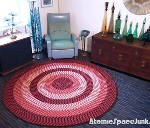 Vintage Braided Rug Round Large Red White Circular 7ft Diameter Ebay