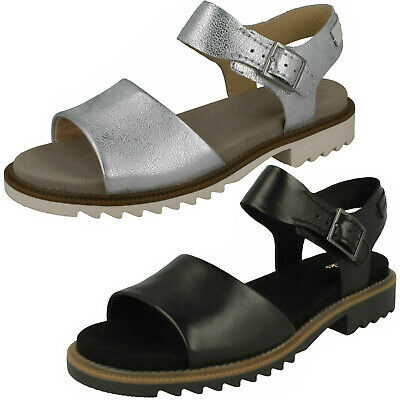Ladies Clarks Ferni Fame Black Or Silver Leather Casual Sandals D Fitting | eBay