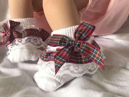 White Baby Girls Lace Frill Socks Tartan Ribbon Trim with Bows Size Newborn
