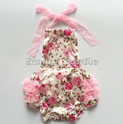 Infant Baby Girl Petti Lace Floral Sunsuit Ruffle Bubble Romper Outfit NB-24M