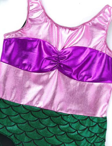 Girls Ballet Dance Leotard Gymnastics Mermaid Dancewear Shiny Bodice Jumpsuit