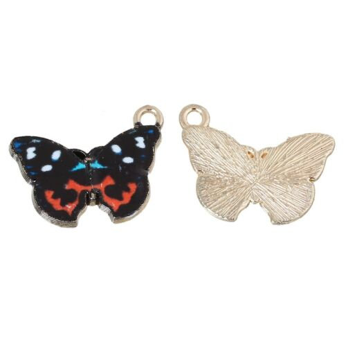2  x Butterfly Black /& Red Enamel Charms Pendants