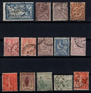 PP135327-FRANCE-STAMPS-YEARS-1900-1924-USED-SEMI-MODERN-LOT-CV-161