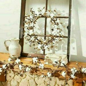 Cotton-Boll-Wreath-Centerpiece-Farmhouse-Rustic-Ring-E2K6-Hot-Countr-Decor