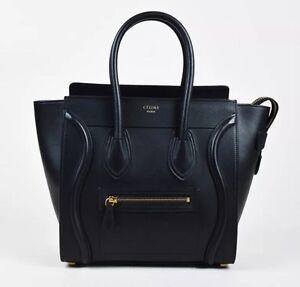 ec7f607af69 Image is loading Celine-Micro-Luggage-Tote-Black-Smooth-Calfskin-Leather-