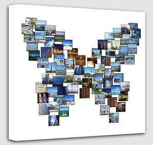 personalised butterfly shape collage canvas photo canvas print