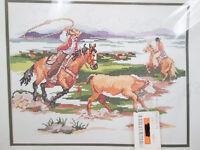 Vtg Counted Cross Stitch Kit Bucilla Working Cowboys Western 40769 L Gillum 1994