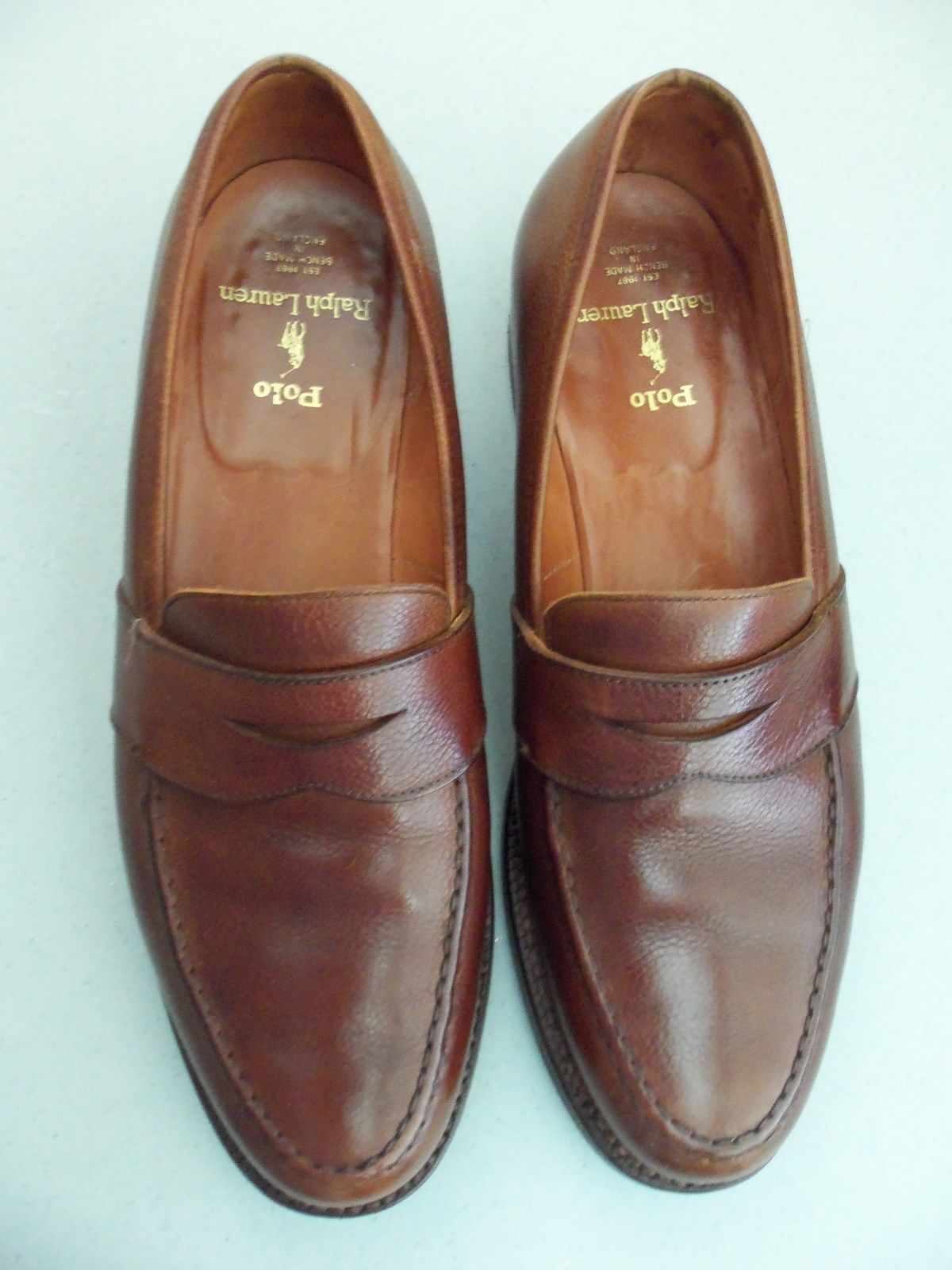 Vintage POLO Ralph Lauren Brown Pelle Penny Loafer 10.5 D  Bench Made England