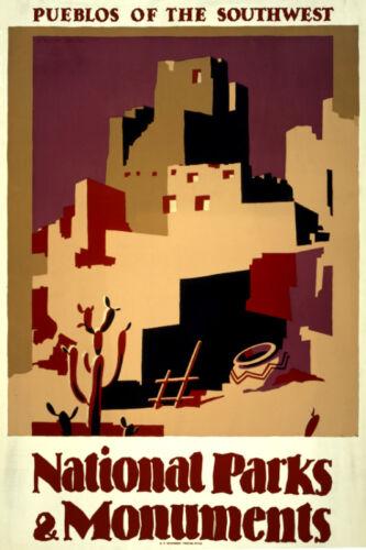 Vintage style quality art print POSTER.Pueblos.New Mexico.Room Art Decor.748