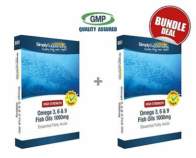 Omega 3, 6 & 9 1000mg BUNDLE DEAL 120+120 Capsules | High Quality Fish Oils