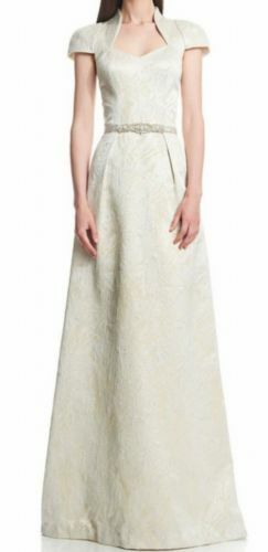 Theia champagne gold jacquard wedding prom dress embellished crystals (size 0)