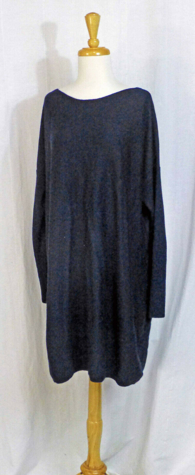 EILEEN FISHER INK Blau-BLK WOOL KNIT L S STRAIGHT TUNIC SWEATER DRESS L LN LUXE