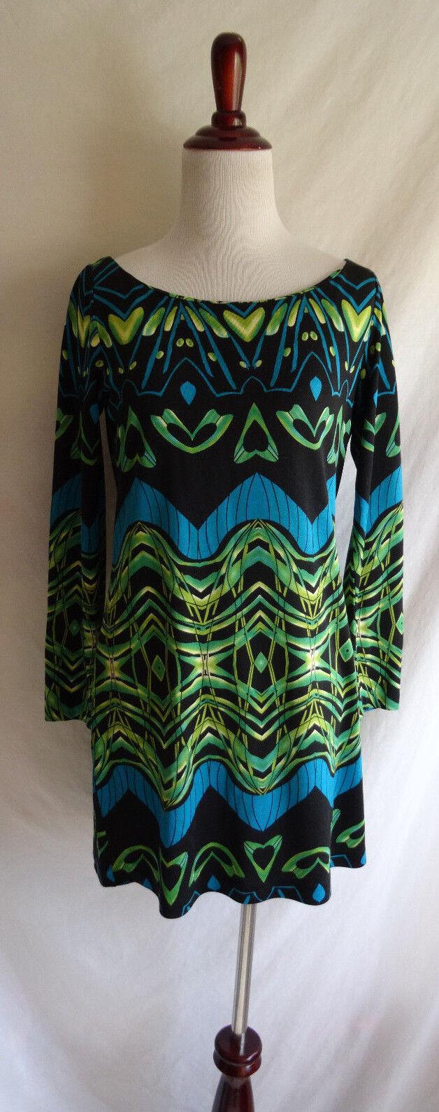 DVF Diane von Furstenberg 2 Retro Pop Geo Art Silk Jersey Tunic Mini Shift Dress