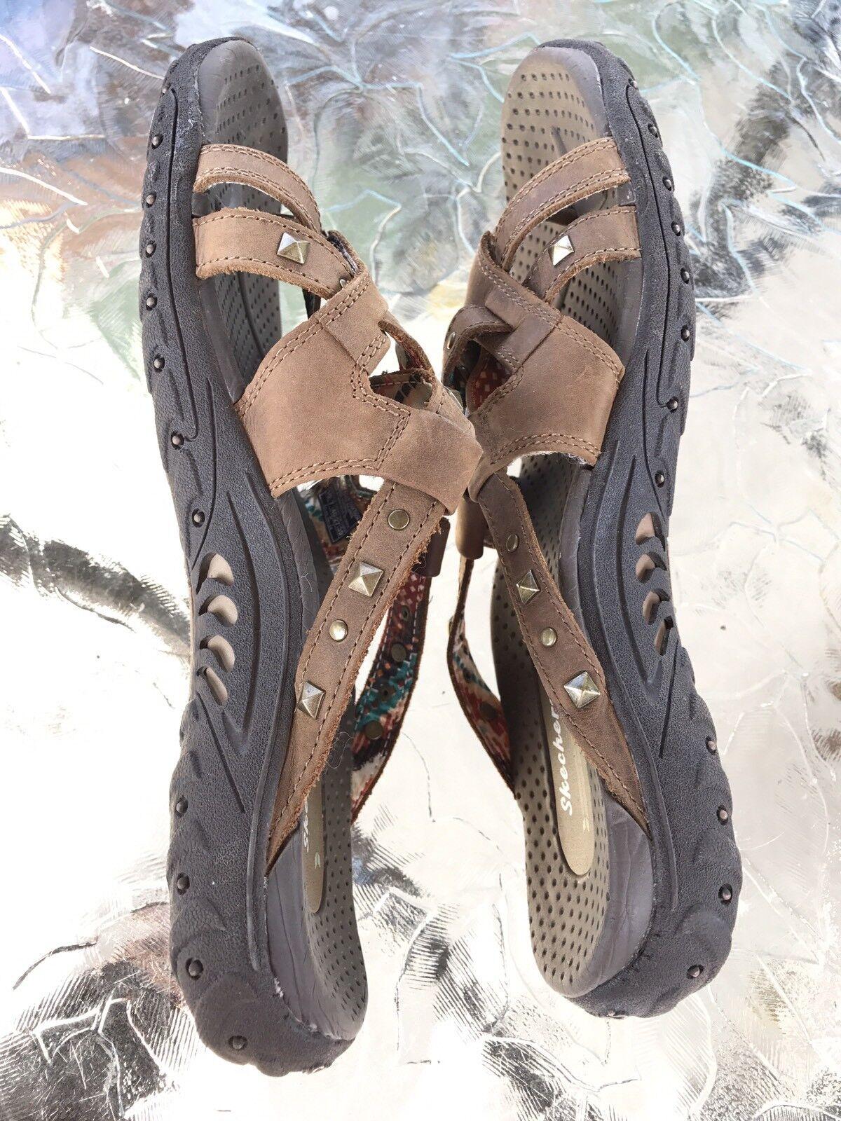 Skechers 10 Reggae Leather Studded Sandals Euc Flip Flip Flip Flips e5a1b9