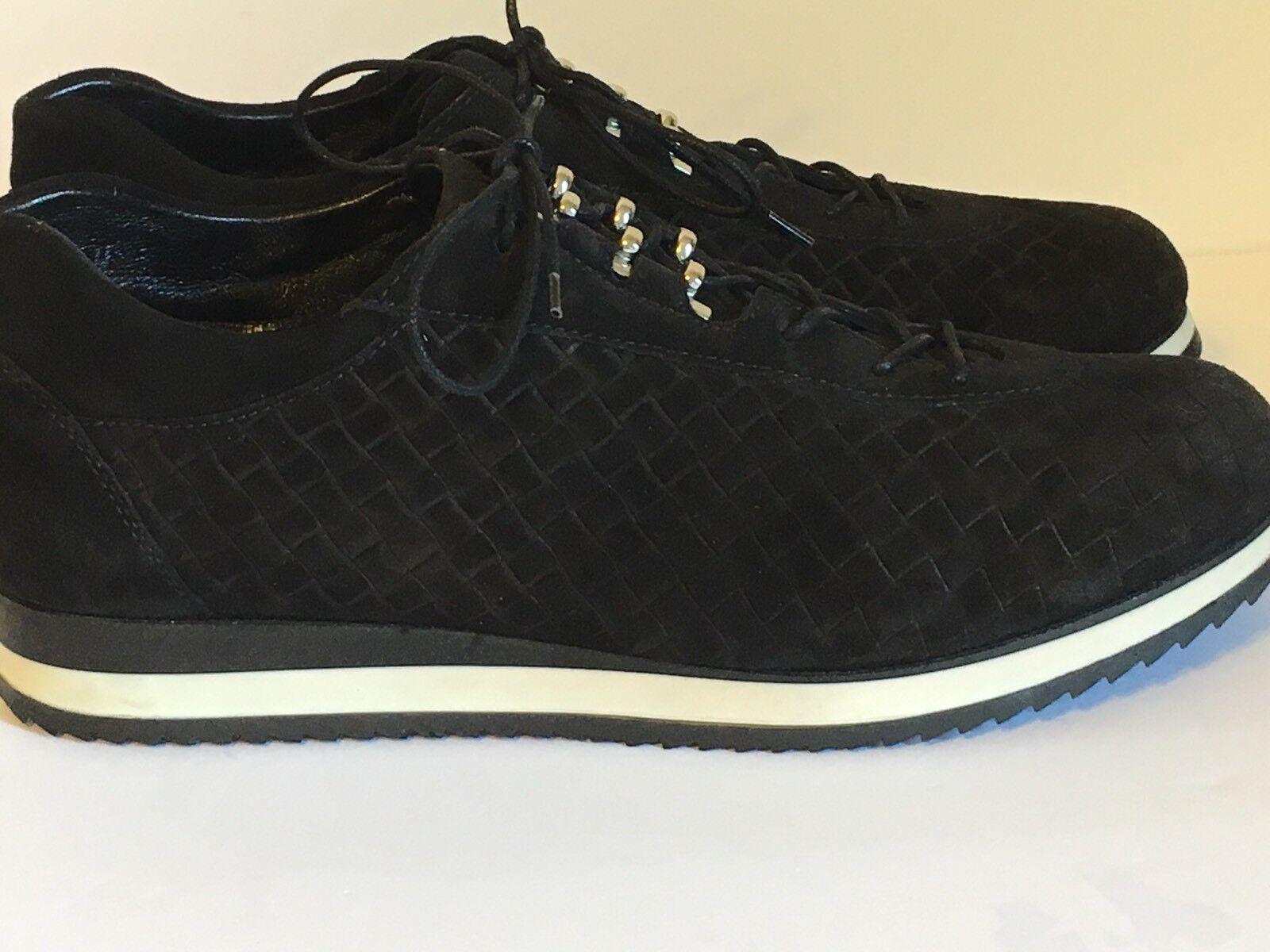 Stuart Weitzman Black Suede Relay Sneaker Black White Size 7.5 M Free Shipping