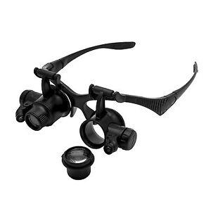 10X-15X-20X-25X-LED-Brillenlupe-Kopflupe-Lupenbrille-Lupe-Vergroesserungsglas-neu