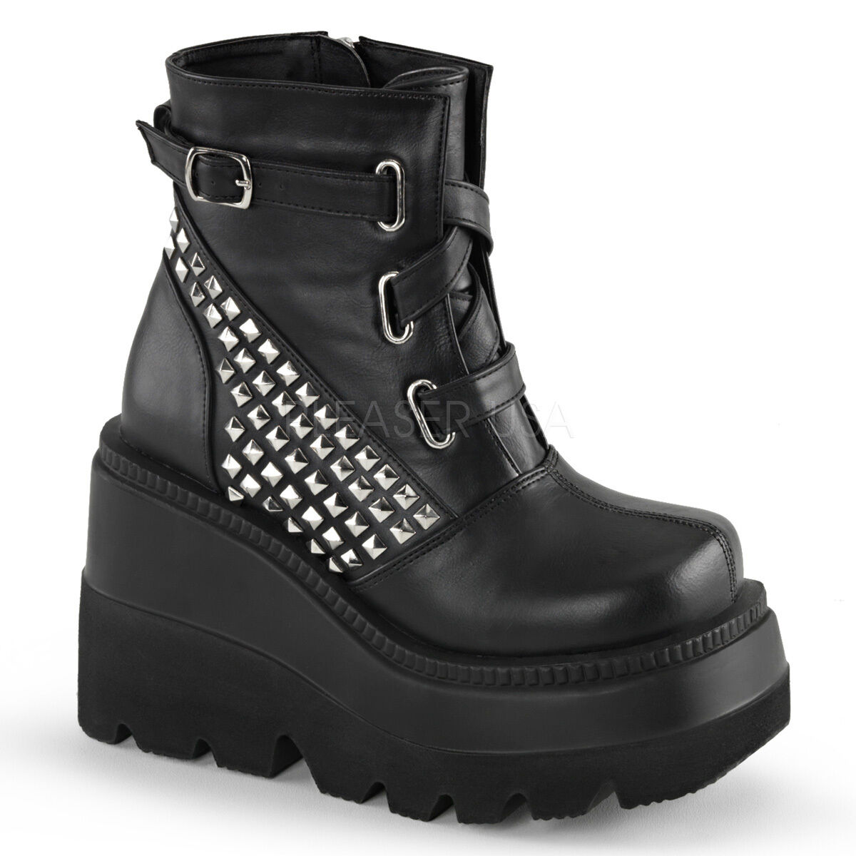 DEMONIA SHA50 SHA50 SHA50 BVL Black Gothic Punk 4 1 2  Wedge Platform Studded Ankle Boots 758f09