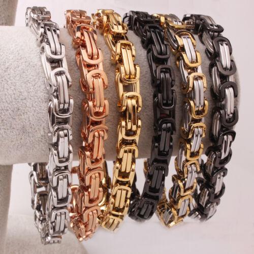 4//6//8mm Mens Womens Silver Gold Black Stainless Steel Byzantine Chain Bracelet