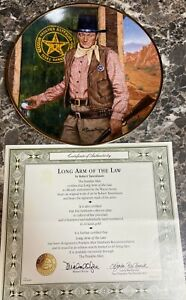 John-Wayne-Long-Arm-of-the-Law-Collector-Plate-Franklin-Mint-8-1-4-034-Vintage-COA