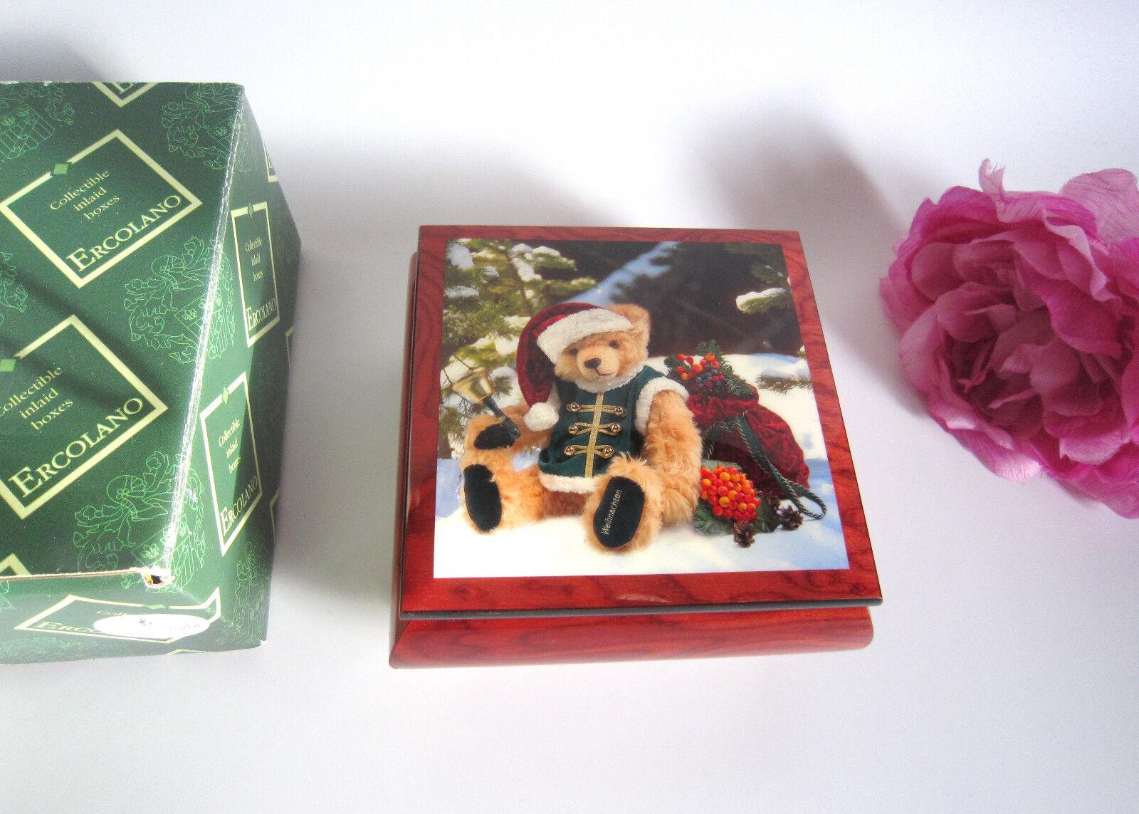HERMANN da collezione music box HERMANN's Bears, in legno, gioca a Silent Night. Nuovo di zecca.
