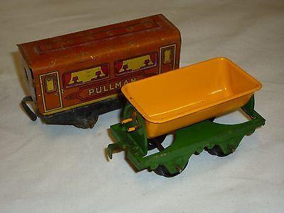 1 Tin Plate Railway Carriage And One Tipping Wagon. Used. Caldo E Antivento
