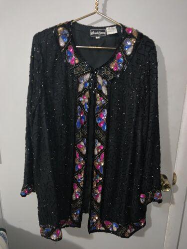 Jewel Queen Silk VTG  Black Stood Sequins Open Fro
