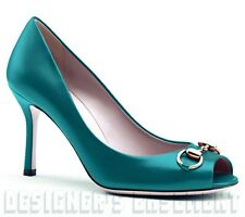 GUCCI teal 36.5 Turquoise leather JOLENE gold Horsebit peep-toe shoes NIB Authen