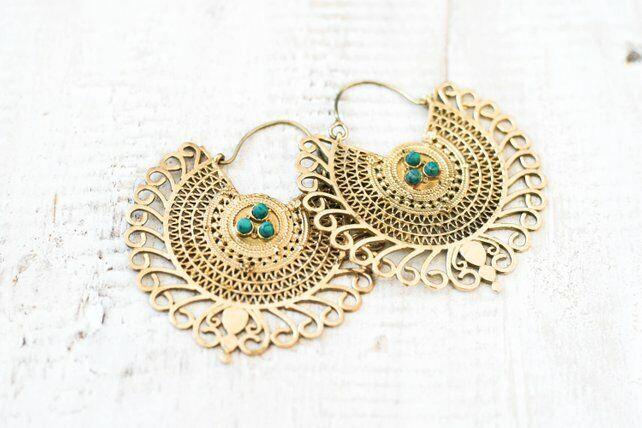 Brass Gypsy Hoop Large Earrings - Boho, Ethnic, Tribal, Festival, Ladies Gift