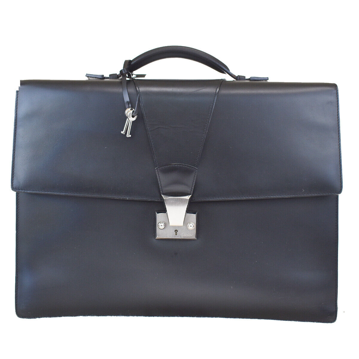 Authentic Cartier Pasha Logos Briefcase Hand Bag Leather Black France 34MH093