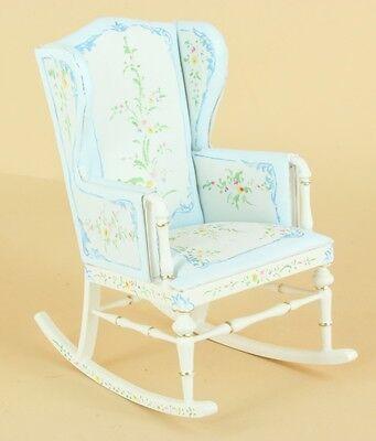 "Bespaq Dollhouse Miniature ""SWEET HOME"" NURSERY ROCKING CHAIR BL/FLORAL  1639-BF"